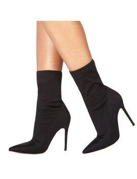 Faith   Black 'bright' High Stiletto Heel Ankle Boots by Faith