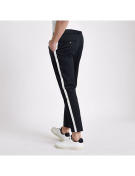 Navy Tape Side Skinny Fit Chino Trousers by River Island