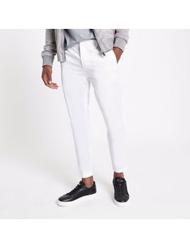 White Cropped Skinny Chino Trousers by River Island