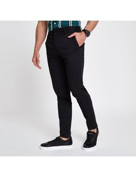 Black Cropped Skinny Chino Trousers by River Island