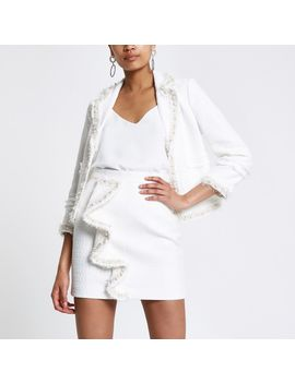 White Boucle Frill Pearl Mini Skirt by River Island