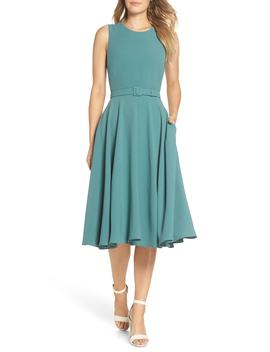 Kaye Belted Fit & Flare Dress by Gal Meets Glam Collection