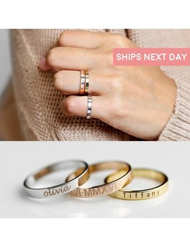 Stacking Ring Engraved Ring Personalized Ring For Women Graduation Gift For Her Inspirational Ring Custom Name Ring Coordinate Rings   R4 by Etsy