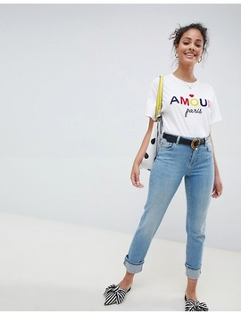 Miss Selfridge Slim Leg Jeans With Turn Up Hem In Mid Wash by Miss Selfridge