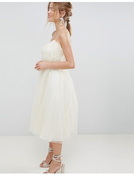 Asos Design Midi Dobby Tulle Prom Dress With Ruffle Bodice by Asos Design