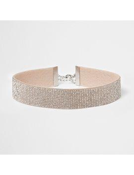 Silver Tone Heatseal Diamante Choker by River Island