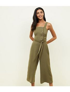 Khaki Linen Look Button Side Jumpsuit by New Look