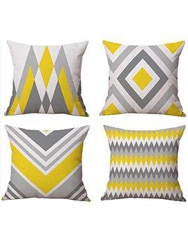 Bluettek Modern Simple Geometric Style Cotton Linen Burlap Square Throw Pillow Covers, 18 X 18 Inches, Set Of 4 (Yellow Gray) by Bluettek