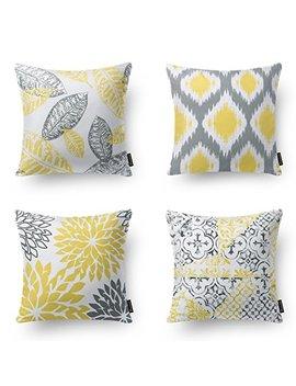 "Phantoscope New Living Series Decorative Throw Pillow Case Cushion Cover 18"" X 18"" 45cm X 45cm Set Of 4 (New Living Yellow&Grey) by Phantoscope"