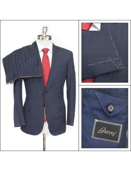$6200 Nwt Brioni Secolo Navy Micro Plaid Super 160's Wool 2 Btn Suit 52 6 L 42 L by Brioni