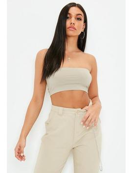 Beige Basic Bandeau Top by Missguided