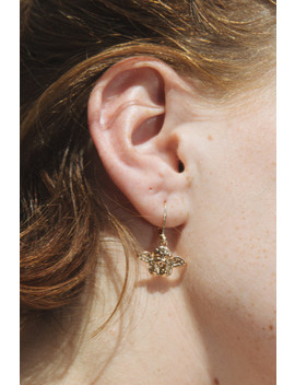 Gold Angel Charm Earrings by Brandy Melville