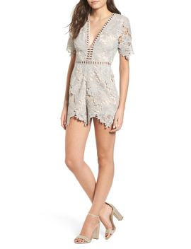Short Sleeve V Neck Lace Romper by Astr The Label