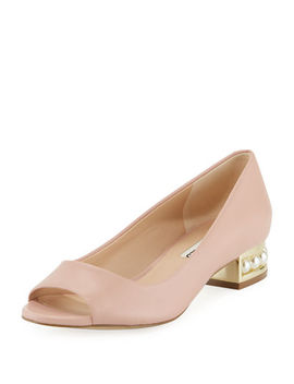 Tracy Low Peep Toe Pump With Pearly Heel Detail by Karl Lagerfeld Paris