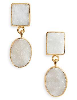 Double Drusy Drop Earrings by Panacea