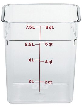 Cambro Camwear Polycarbonate Square Food Storage Container, 8 Quart (This Does Not Come With A Lid) by Cambro
