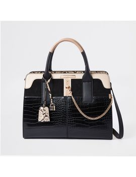 Black Croc Detail Lock Front Tote Bag by River Island