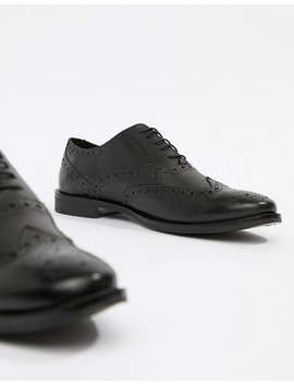 Asos Design Wide Fit Brogue Shoes In Black Leather by Asos Design