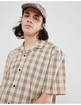 Asos Design   Oversized Recht Overhemd Met Ruit En Reverskraag In Bruin by Asos