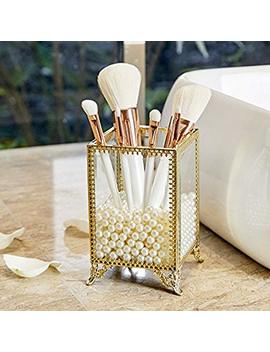 Pu Two Makeup Organizer Gold Make Up Brush Holder With Free, White Pearls, Gold Brush Holder by Pu Two