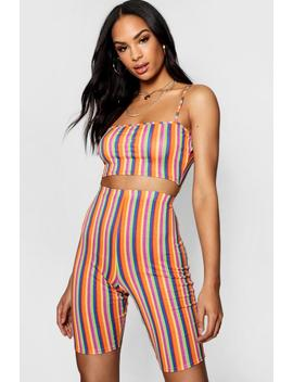 Ellie Rainbow Stripe Crop & Cycle Short Co Ord by Boohoo