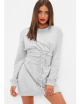 Grey Corset Sweater Dress by Missguided