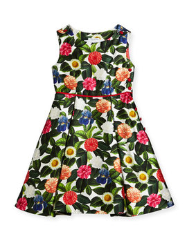 Mikado Flower Jungle Dress W/ Buttons & Pleats, Size 2 14 by Oscar De La Renta