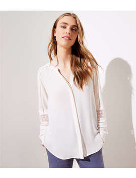 Lace Trim Utility Blouse by Loft