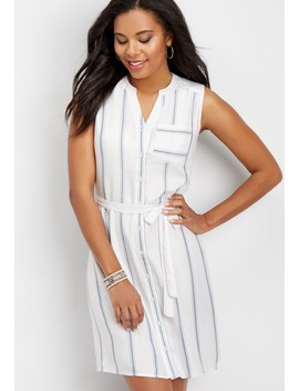 Button Down Striped Shirtdress by Maurices