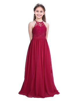 Chictry Kids Girls Halter Neck Chiffon Lace Long Party Junior Wedding Evening Dance Prom Maxi Gown Dress by Amazon