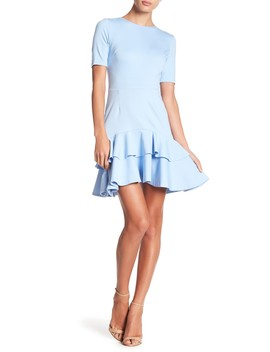Short Sleeve Double Ruffle Ponte Dress by Love...Ady
