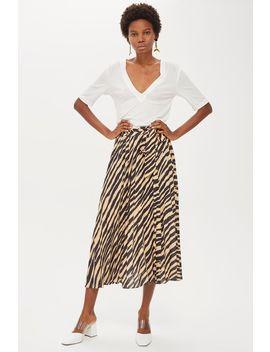 Zebra Print Pleat Midi Skirt by Topshop