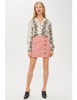 Horn Button A Line Denim Skirt by Topshop