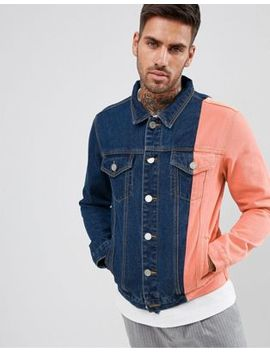 Boohoo Man Colourblock Denim Jacket In Blue Wash by Boohoo Man