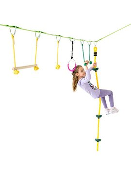 Powerfly Ninja Hanging Obstacle Course Kit For Kids   36' Slackline, 2 Monkey Bars, 2 Gymnastics Rings, 3 Fists, Climbing Rope   Obstacles Line Equipment Set For Backyard Playground Activities by Powerfly