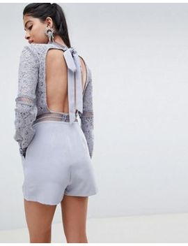 Asos Design Premium Open Back Lace Playsuit by Asos Design