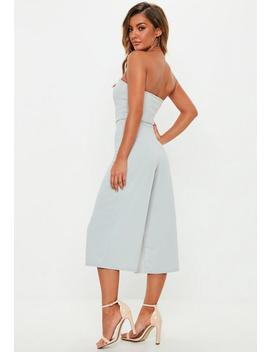 Grey V Bar Bandeau Culotte Jumpsuit by Missguided