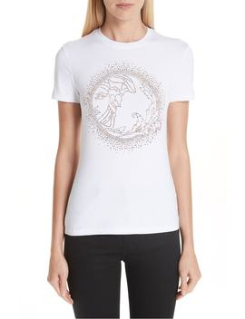 Medusa Crystal Embellished Jersey Tee by Versace Collection