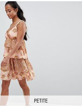 Vero Moda Petite Floral Tiered Mini Dress With Pom Poms by Vero Moda Petite