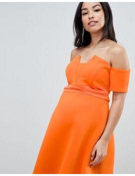 Asos Design Maternity Bardot Pleated Waist Scuba Midi Prom Dress by Asos Design