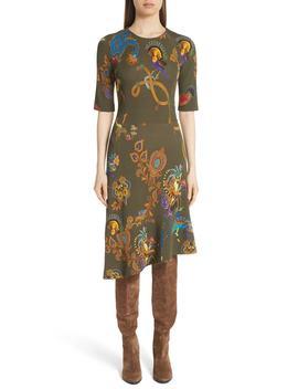 Lemur Print Asymmetrical Dress by Etro