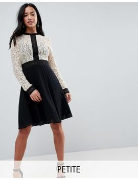 Little Mistress Petite All Over Lace Top Dress With Prom Skater Skirt by Little Mistress Petite