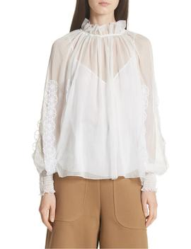 Floral Appliqué Puff Sleeve Blouse by See By ChloÉ