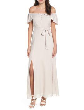 Off Shoulder Tie Waist Maxi Dress by 4 Si3 Nna