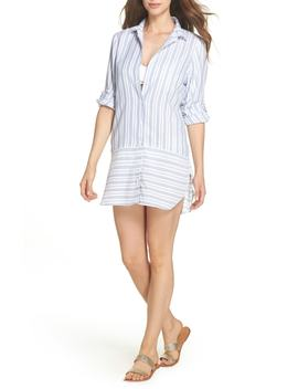 Ticking Stripe Cover Up Shirtdress by Tommy Bahama