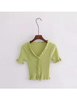 2018 Summer Women Harajuku Knitted Short Ruffles Sleeve Shirt Crop Top Unif Sexy Street Wear Femme Short Sleeve Funny T Shirt by Joyinparty