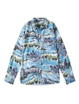 Men Long Sleeve Hawaiian Shirt Printed Casual Beach Shirts Kpop Gd Same Style by Unbranded