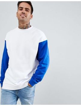 Asos Design Oversized Longline Sweatshirt In White With Contrast Sleeves by Asos Design
