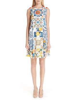 Tile Print Stretch Silk Dress by Dolce&Gabbana