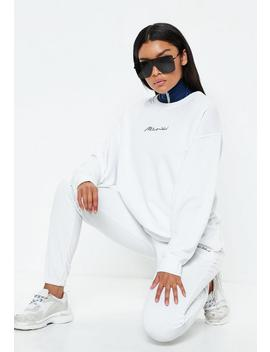 White Missguided Slogan Sweatshirt by Missguided